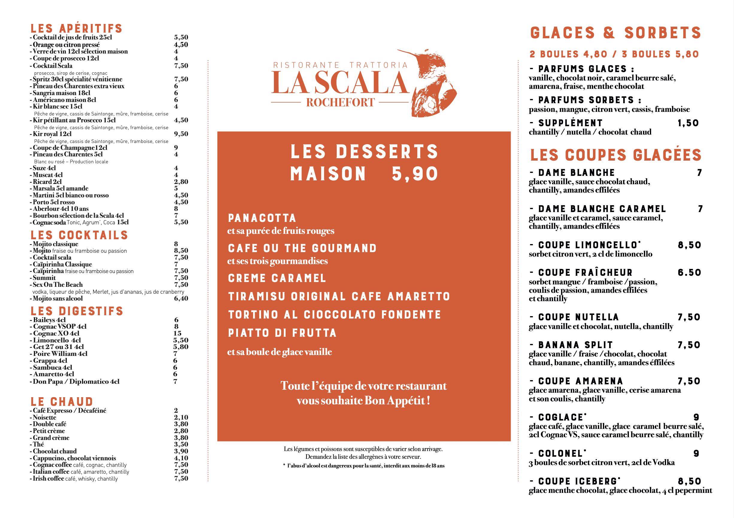 Carte La Scala Rochefort 4